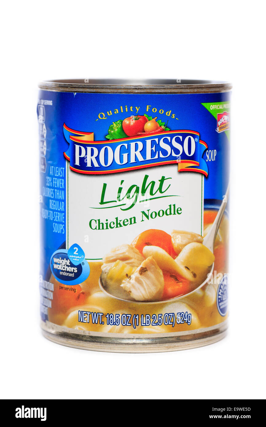 Progresso Brand Light Chicken Noodle Soup - Stock Image