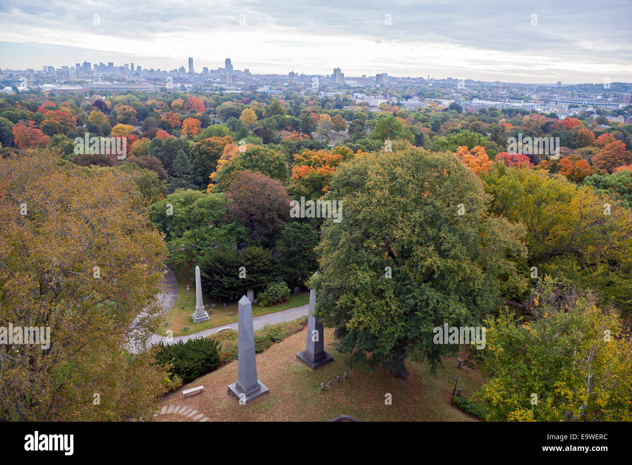 Mount Auburn Cemetery in Massachusetts, was founded in 1831 as 'America's first garden cemetery' or - Stock Image