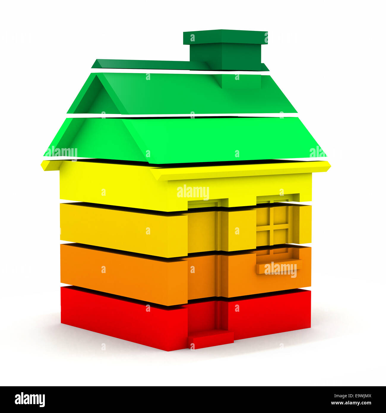 3d render of a house made of multi colored bars in the style of an energy usage chart - Stock Image