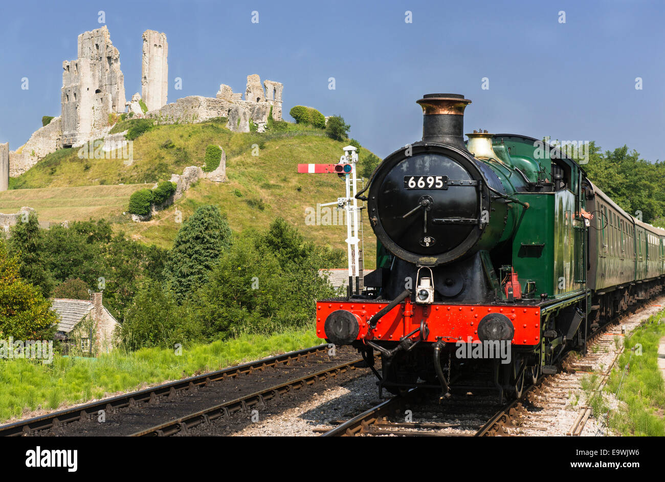 Heritage Swanage Railway with steam engine train 6695 (GWR 0-6-2T 5600