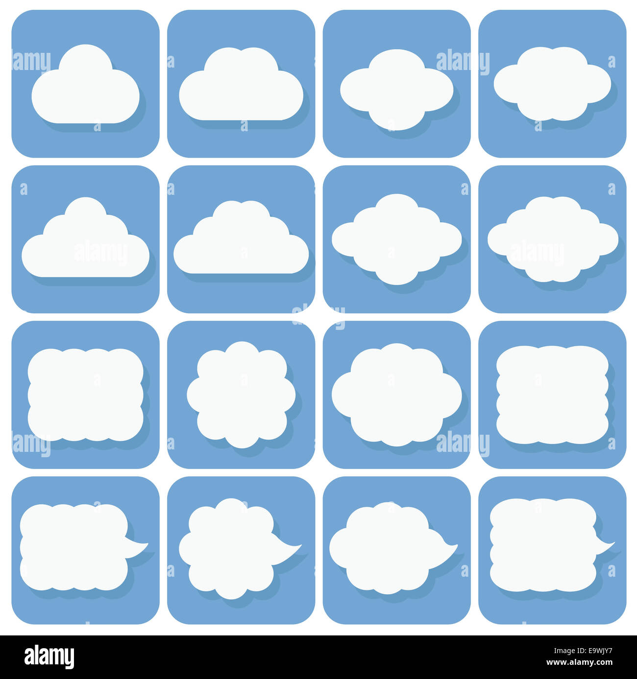vector icon set, collection of cloud icons, white on blue background with dark blue shadows - Stock Image