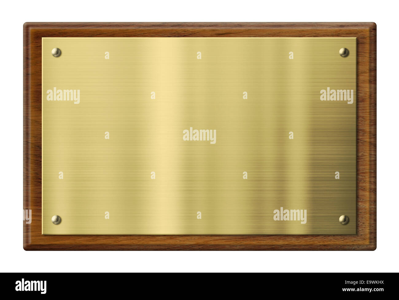 Wood plaque with brass or gold metal plate. Clipping path included. - Stock Image
