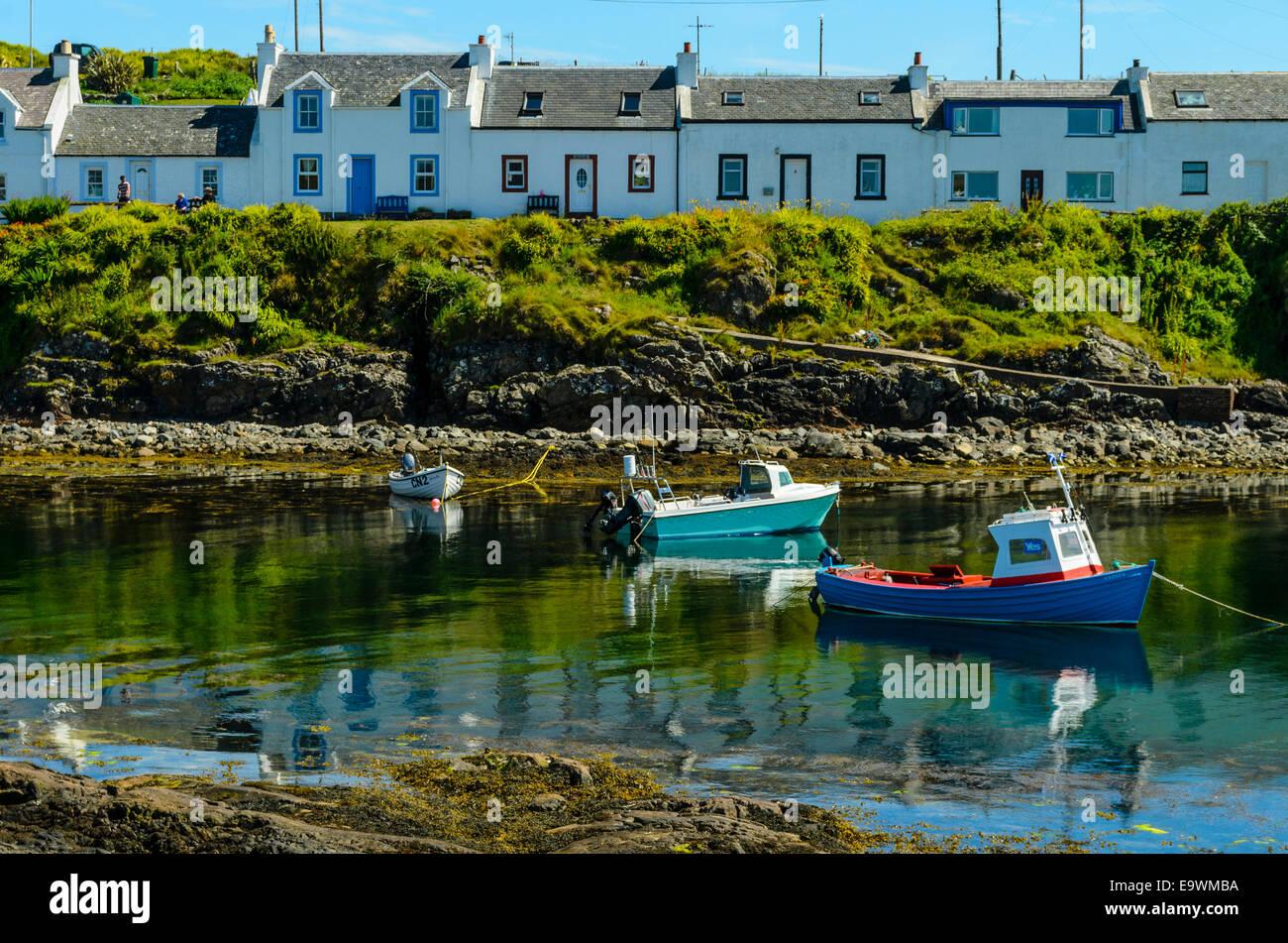 Fishing boats at Portnahaven on the island of Islay Scotland - Stock Image