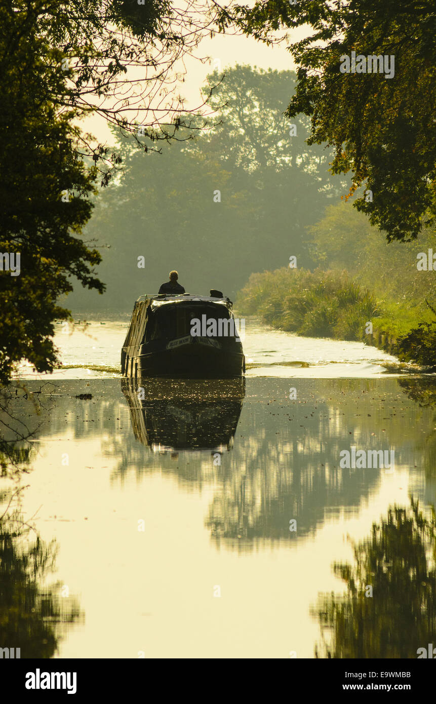 Narrowboat on the Lancaster Canal near Garstang Lancashire - Stock Image