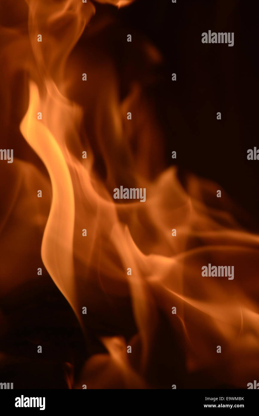 Austria, fire play in open fire place, winter, inspiration, Vienna - Stock Image
