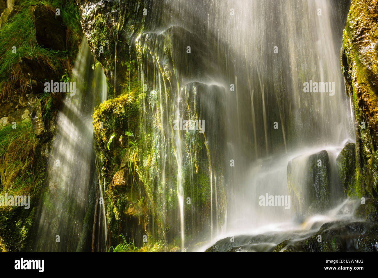 Waterfall beside Thornton Force near Ingleton in the Yorkshire Dales National Park - Stock Image