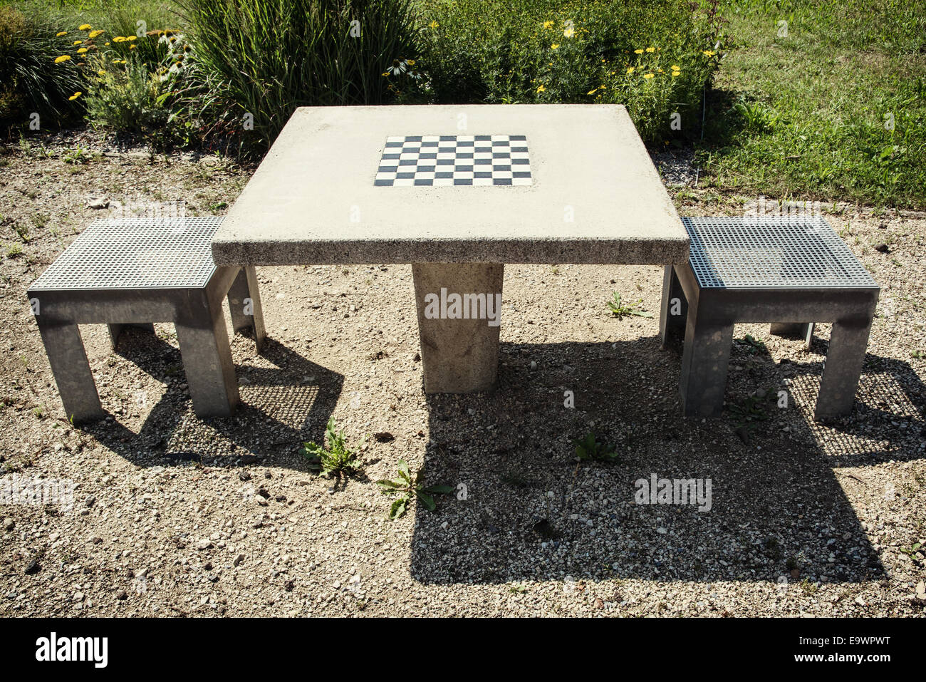 Chess Table And Chairs In Outdoor.