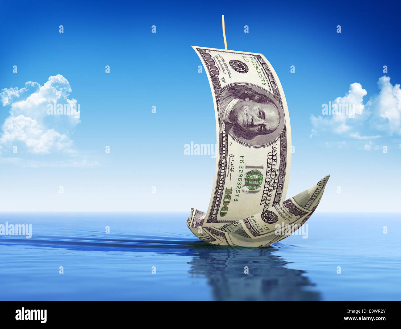 Sailboat made of Dollars - Stock Image