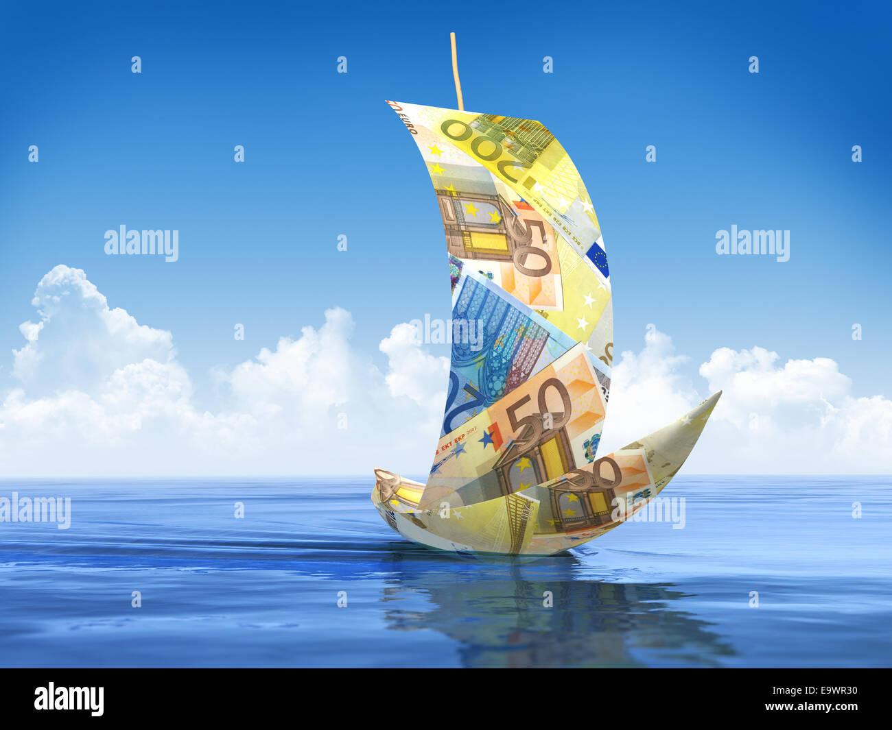 Sailboat made of Euro - Stock Image