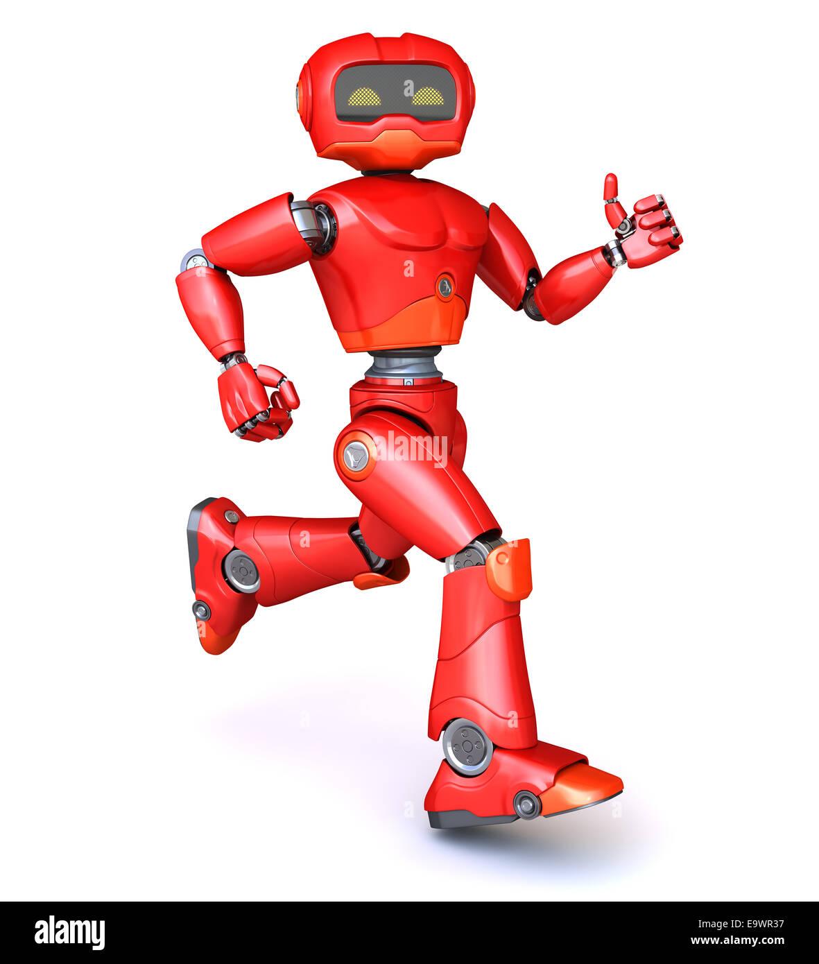 Running red robot Stock Photo: 74940299 - Alamy