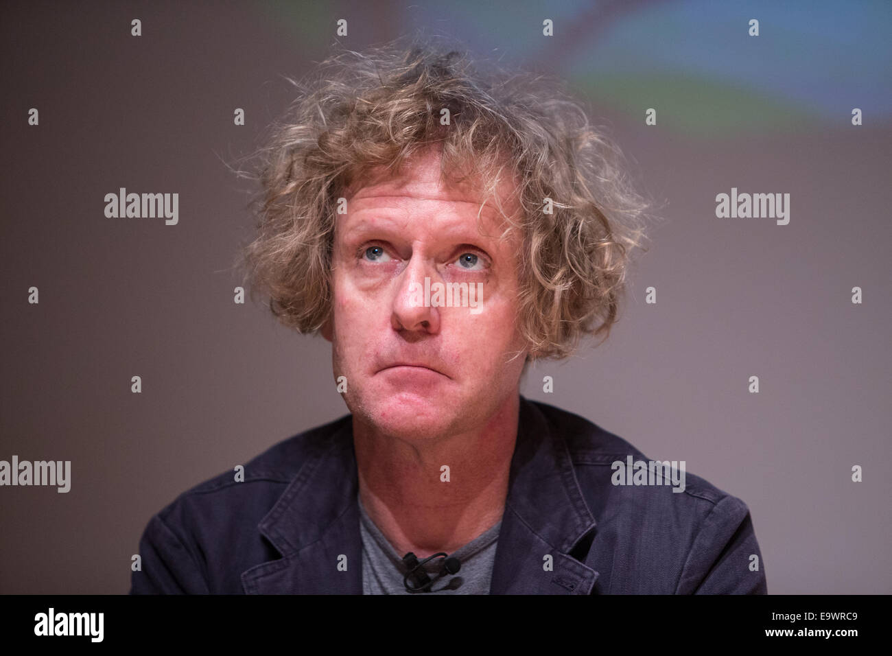 Grayson Perry discussing his exhibition at the National Portrait Gallery in conjunction with the Channel 4 series - Stock Image