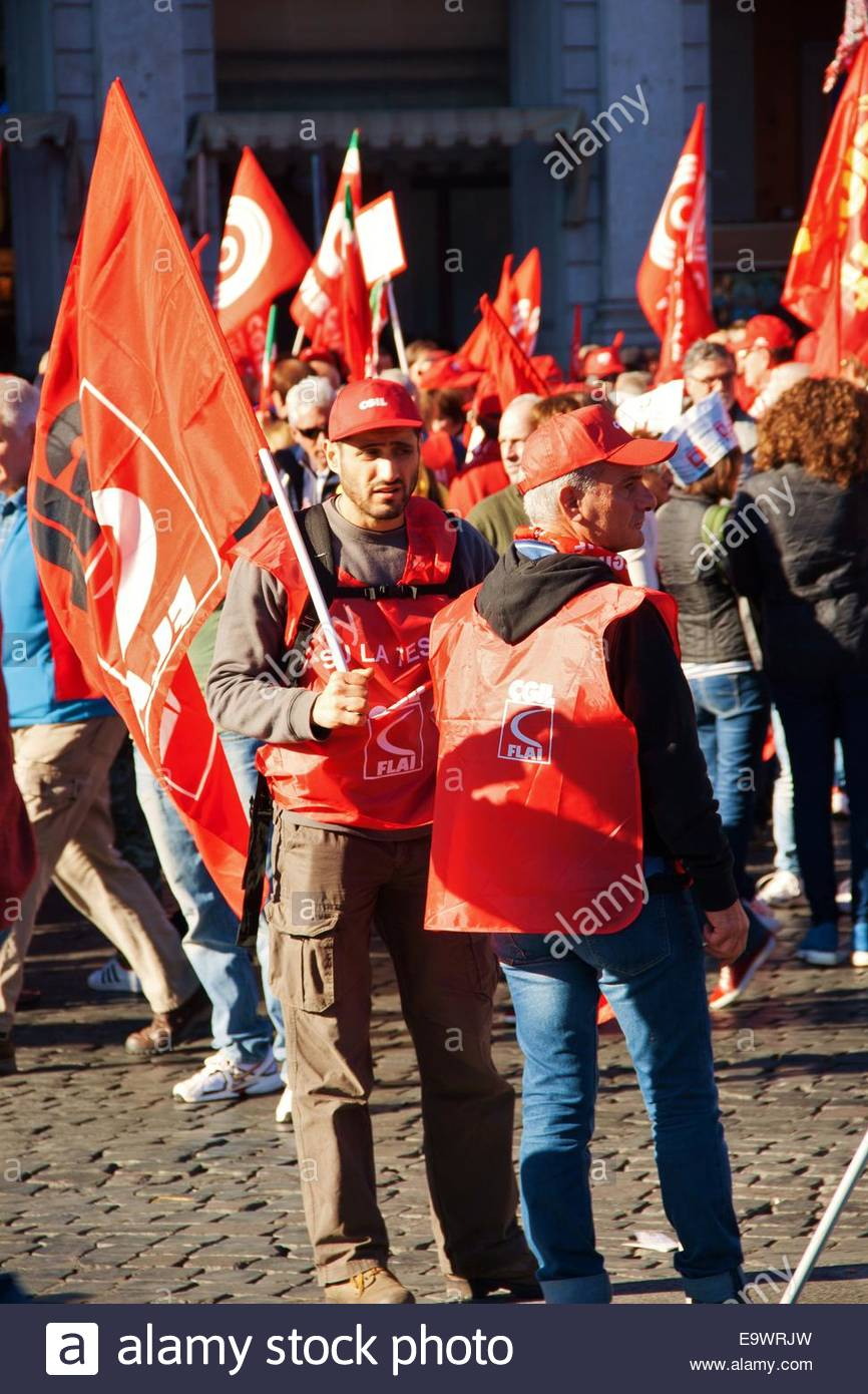 Protesters march against Renzi labor reforms,Rome - Stock Image