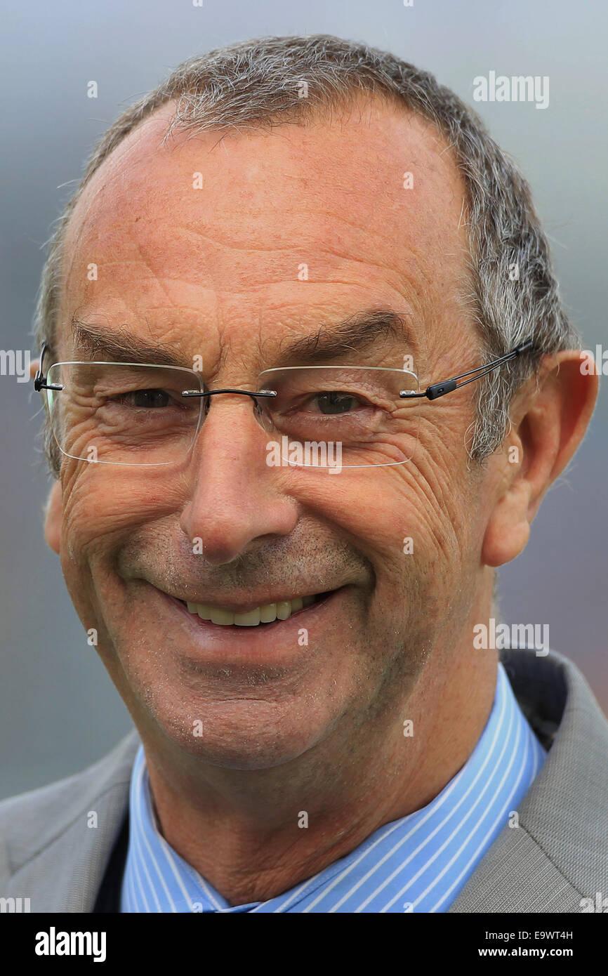cricket - Sky commentator David 'Bumble' Lloyd smiling portrait - Stock Image