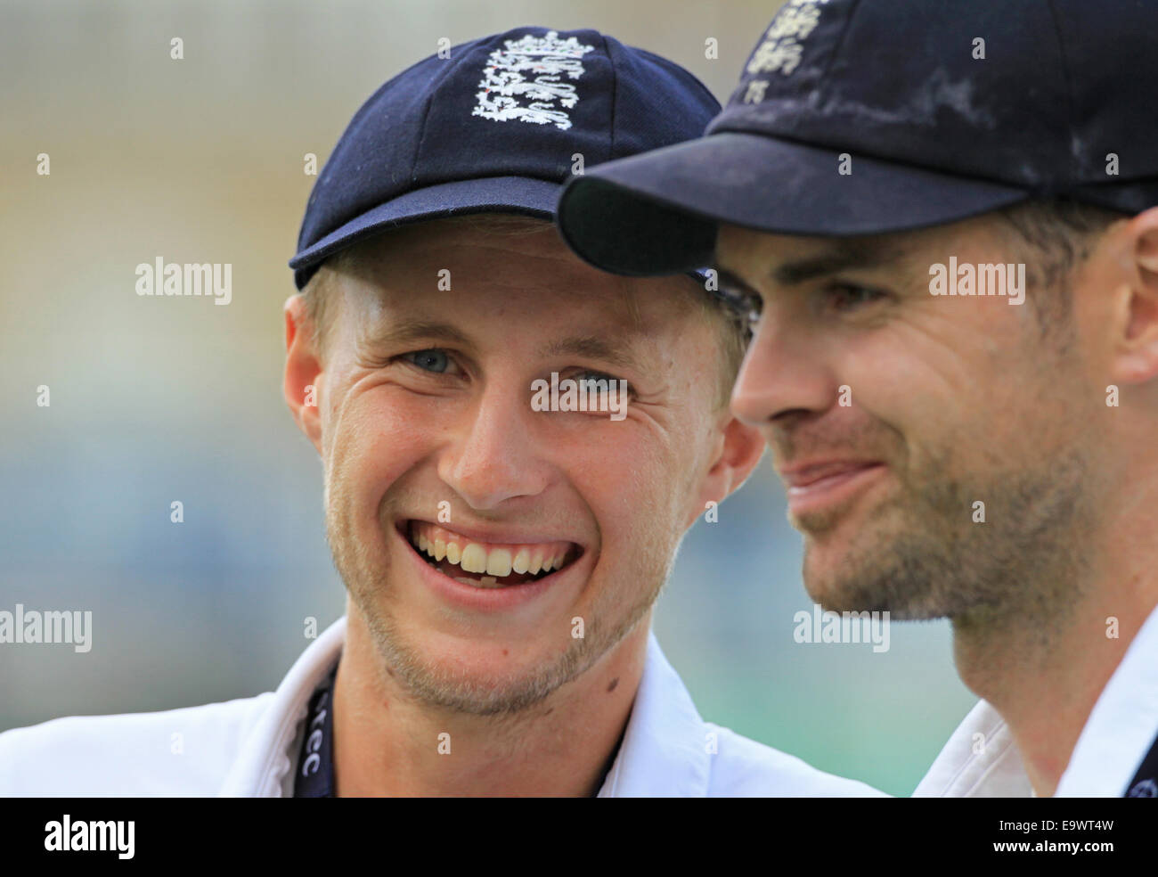 Cricket - Joe Root and James Anderson portrait after England win the Investec Test series against India at The Kia - Stock Image