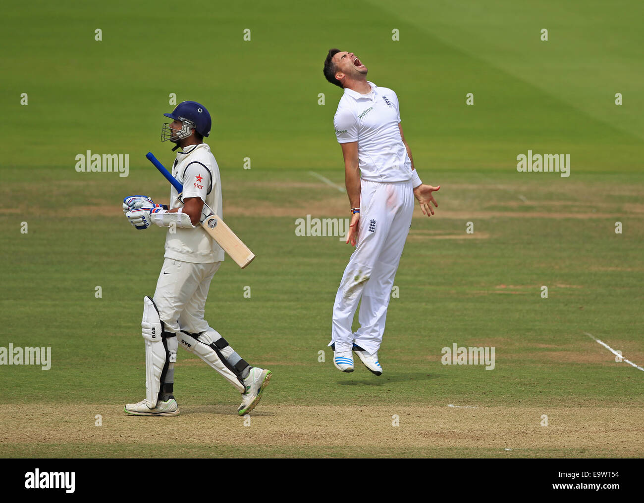 Cricket - James Anderson of England celebrates taking the wicket of Murali Vijay of India at the Lord's Test - Stock Image