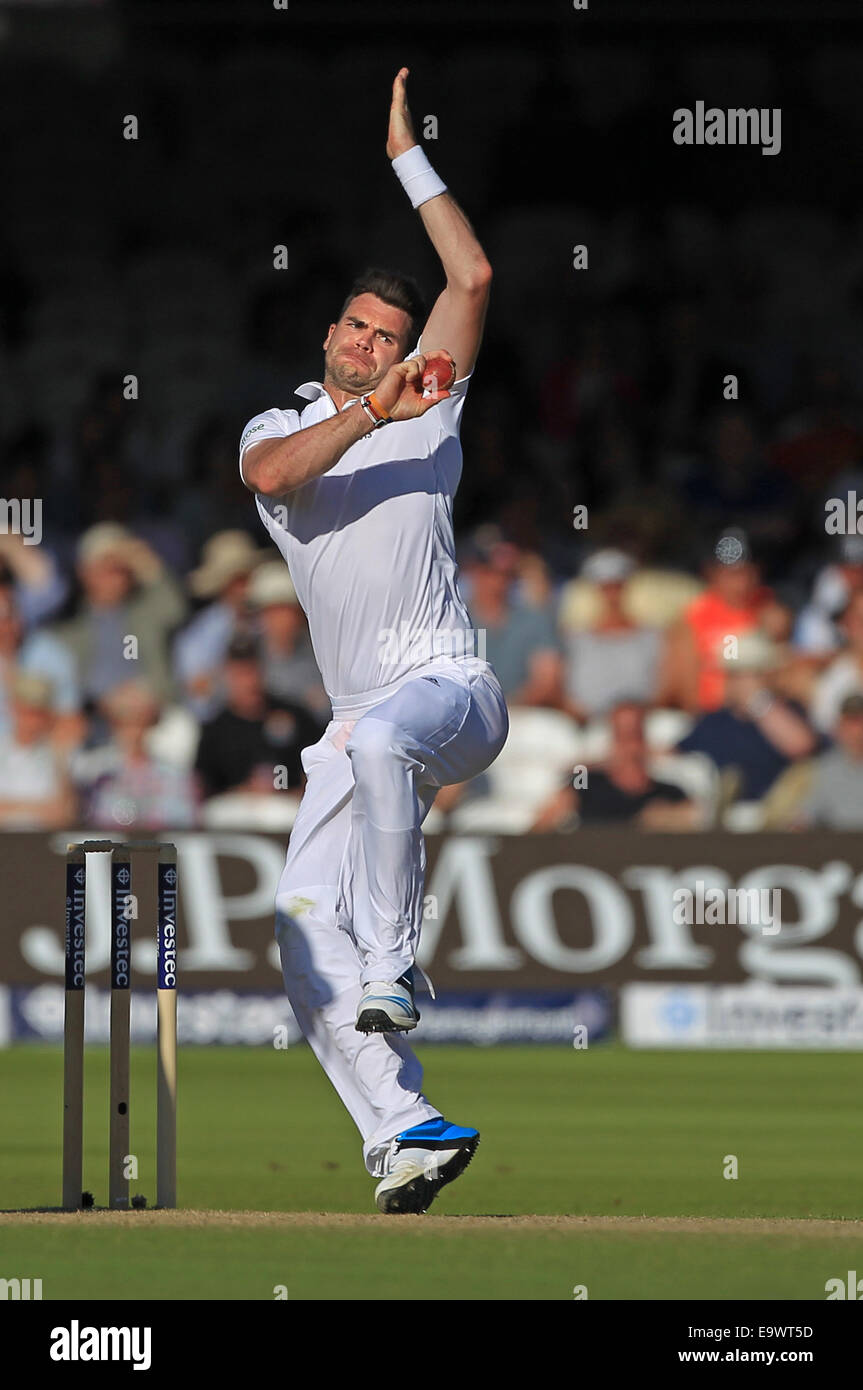 Cricket - James Anderson of England bowls against India during the Investec Second Test match in 2014 - Stock Image
