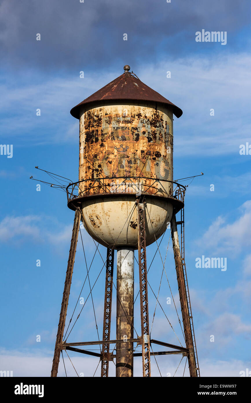 Old rusted water tower, Wilkes-Barre, Pennsylvania, USA - Stock Image