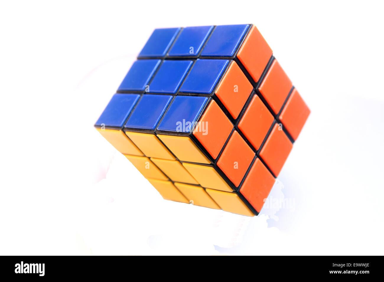 still life of rubik cube - Stock Image