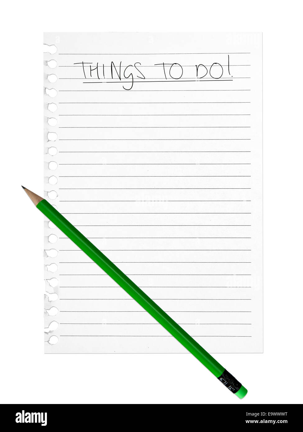 Blank sheet of lined paper, to do list. - Stock Image