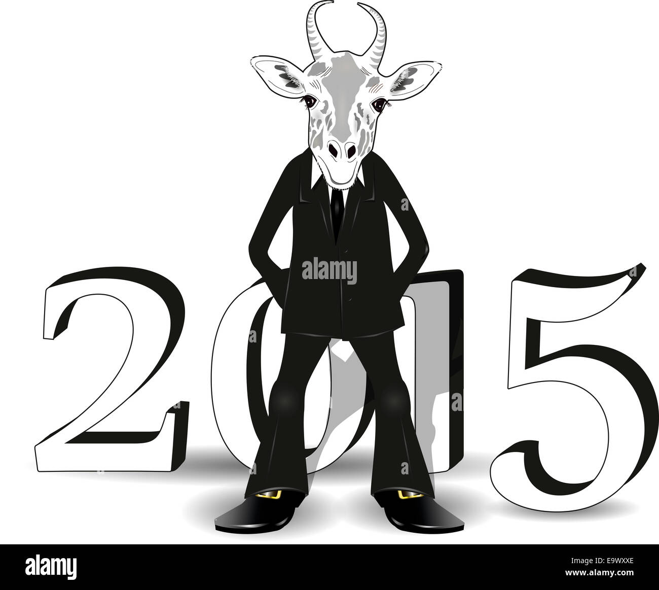 abstract illustration of a goat symbol of the new year - Stock Image
