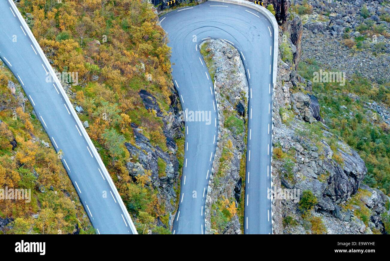 Detail of famous troll road in Norway - Stock Image