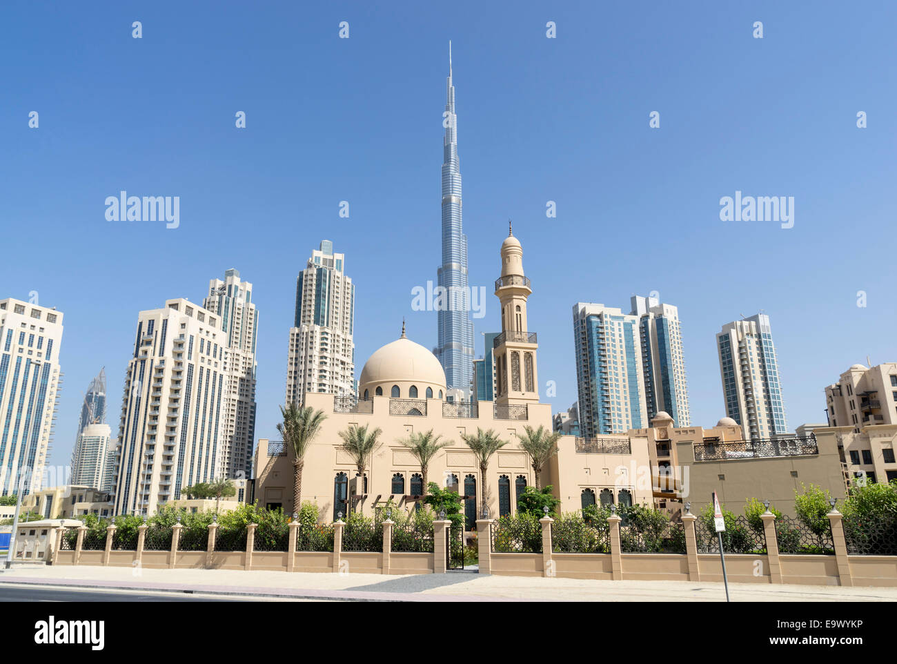 New mosque and view of Burj Khalifa in Downtown Dubai United Arab Emirates - Stock Image