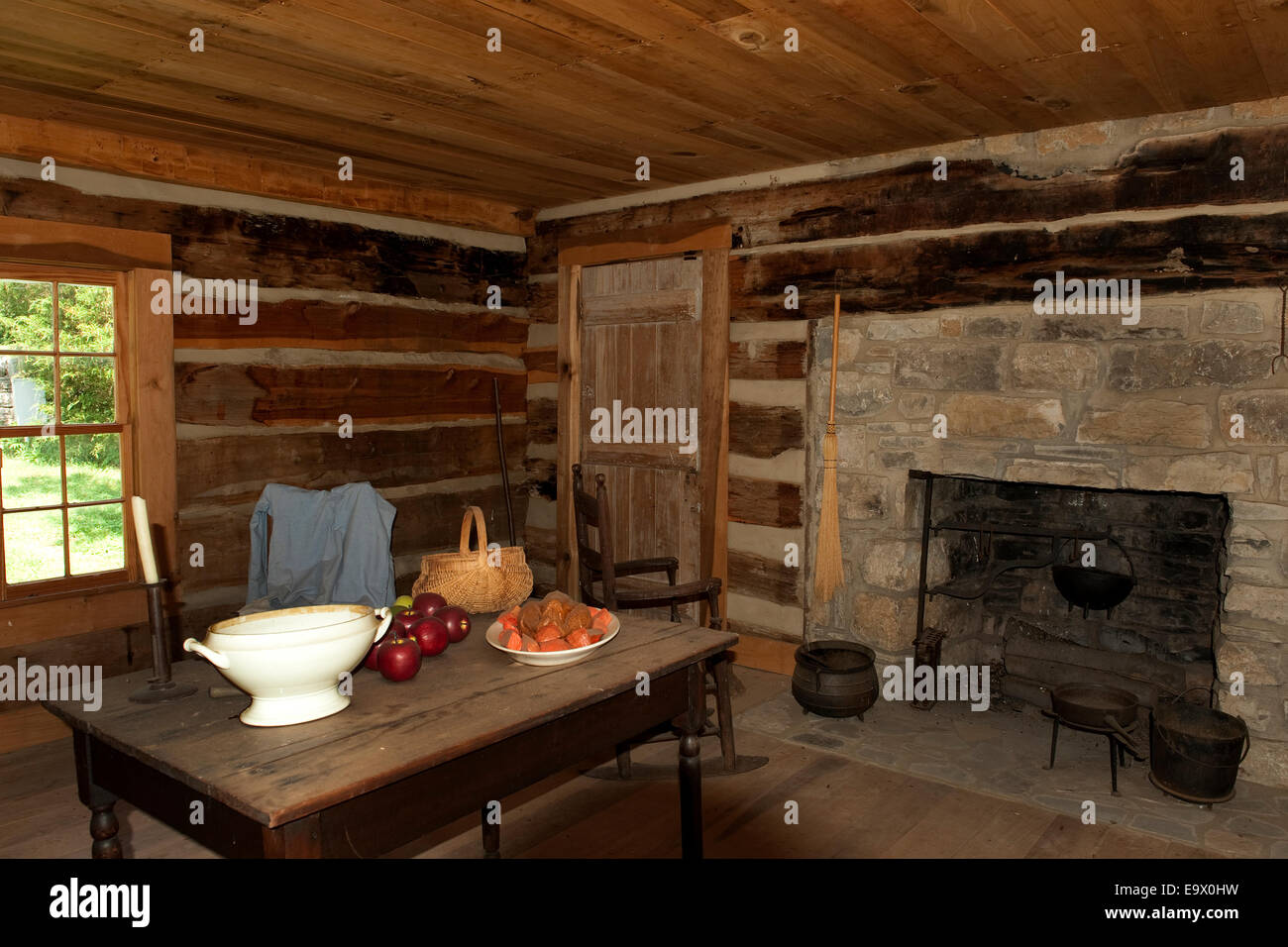 Interior of  the Slave cabin Belle Meade Mansion Nashville Tennessee - Stock Image