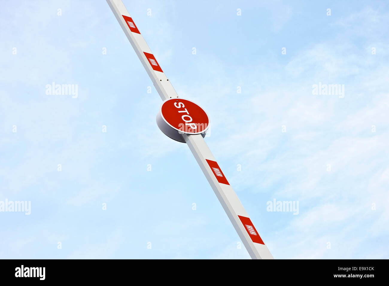 Stop Barrier for Construction Site in the Air - Stock Image