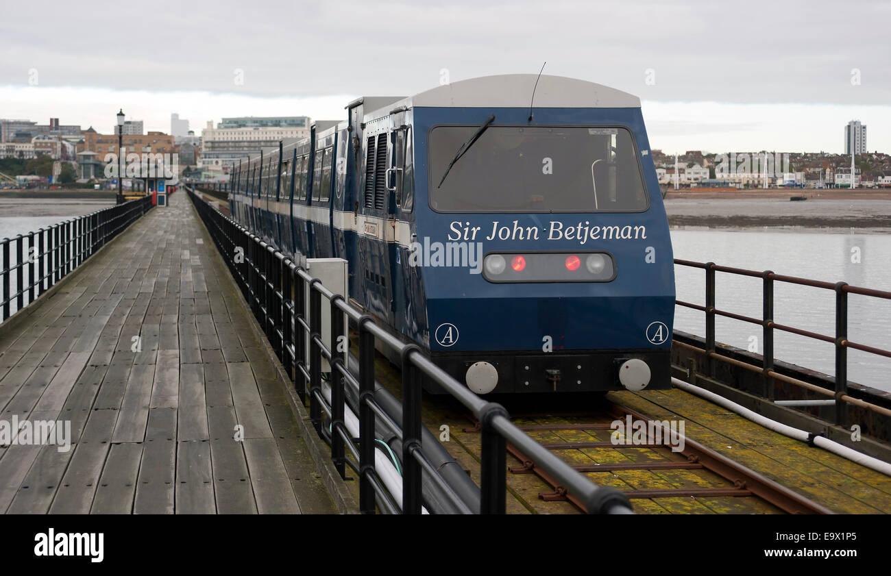 Train ride on Southend Pier, Southend-on-Sea, Essex, England, United Kingdom. - Stock Image
