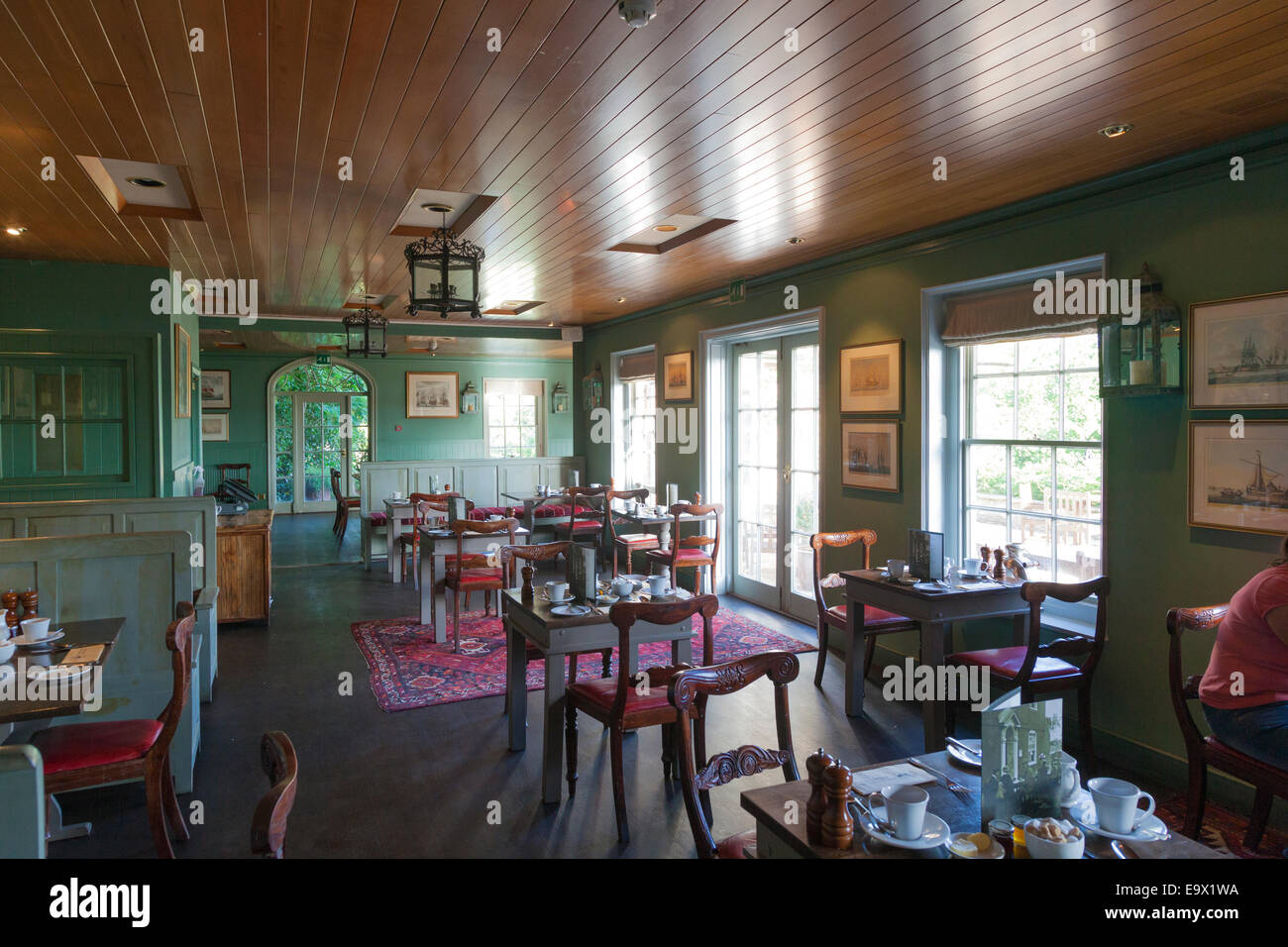 Unoccupied breakfast room at The Master Builders Bucklers Hard Stock Photo