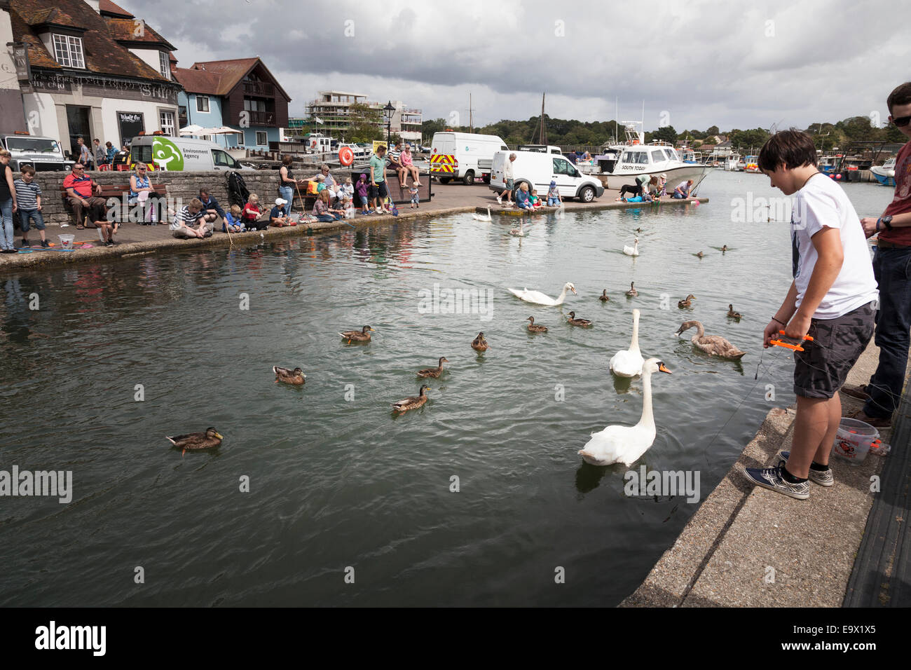 People crabbing at the harbour at Lymington Stock Photo