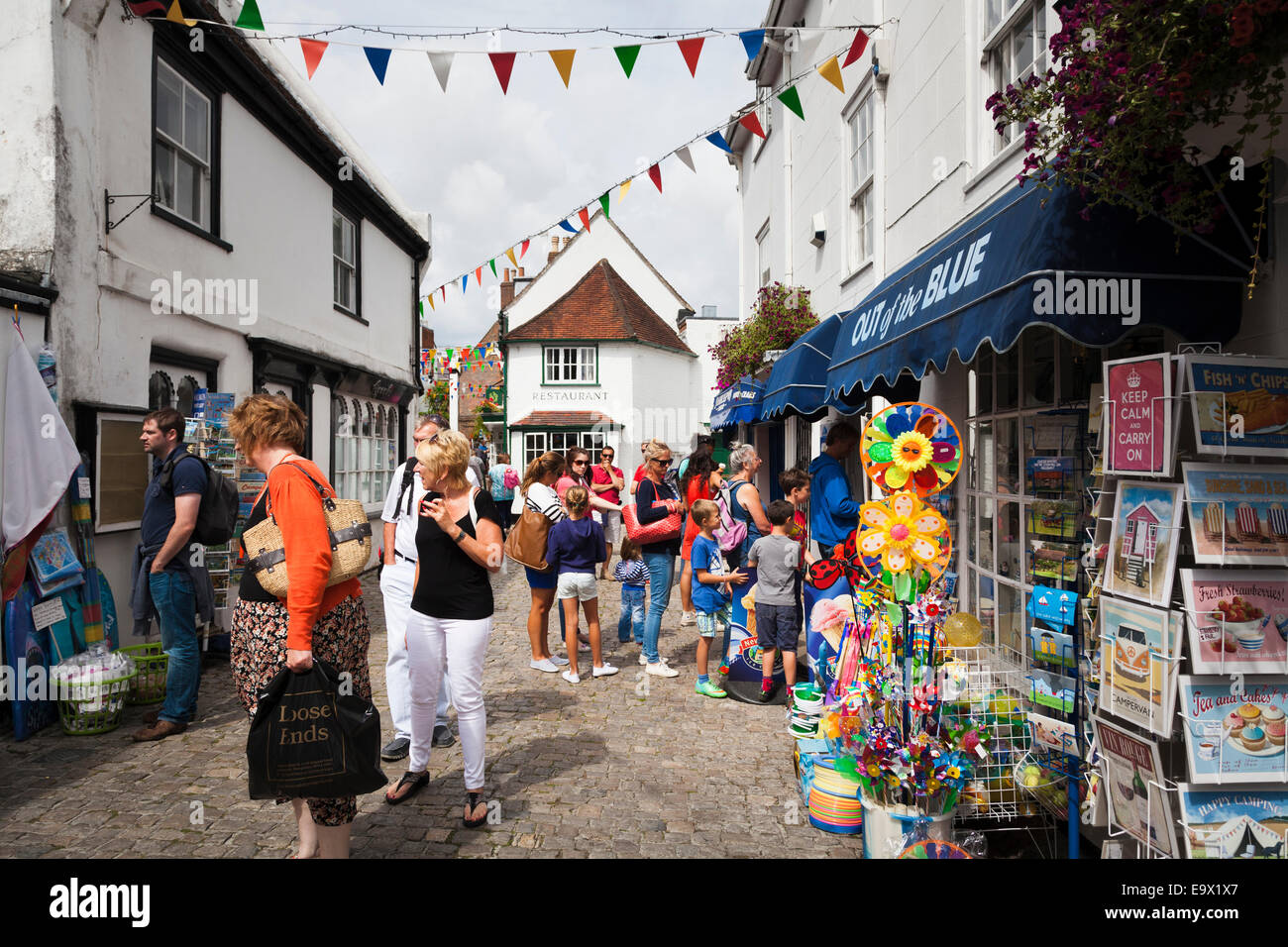 Tourists around the shops on Quay Street in Lymington Stock Photo