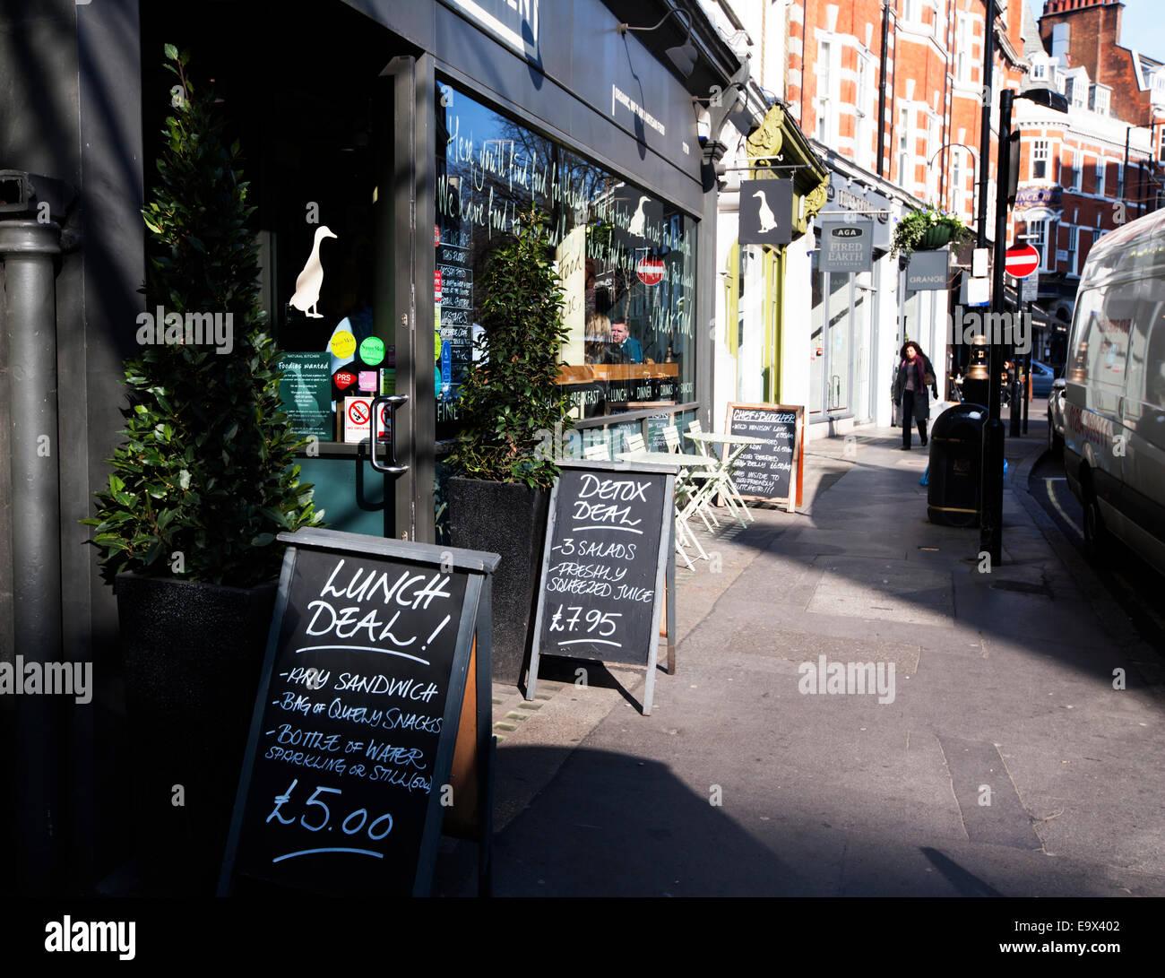 Lunch menus, Marylebone High Street, London, England, UK - Stock Image