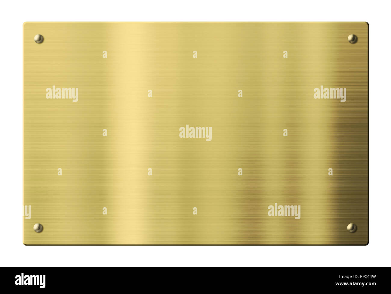 Brass or gold metal plate isolated with clipping path included - Stock Image