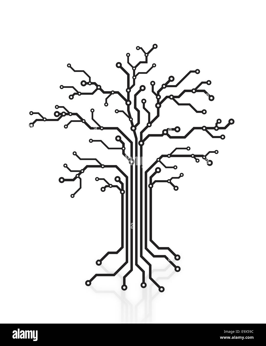 Digital tree made of circuits, conceptual illustration isolated on white background - Stock Image