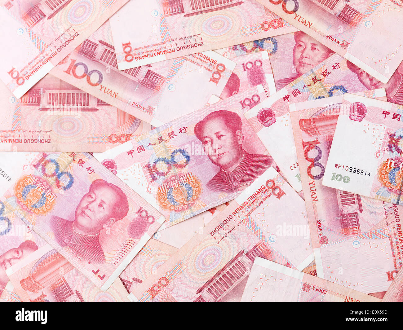 Chinese Yuan 100 bills Renminbi money currency background - Stock Image