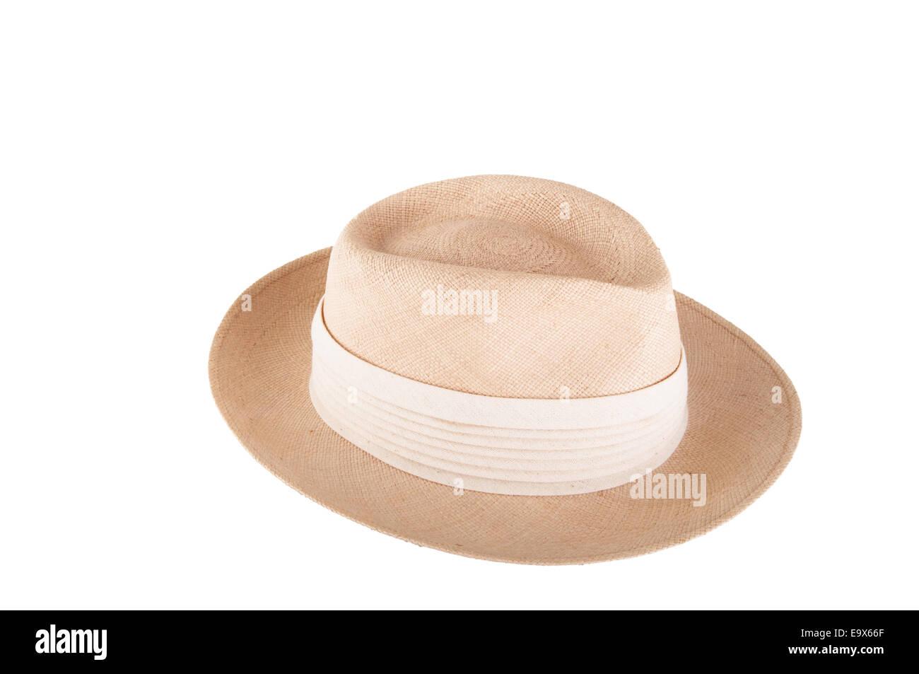 Panama hat - isolated over white - Stock Image