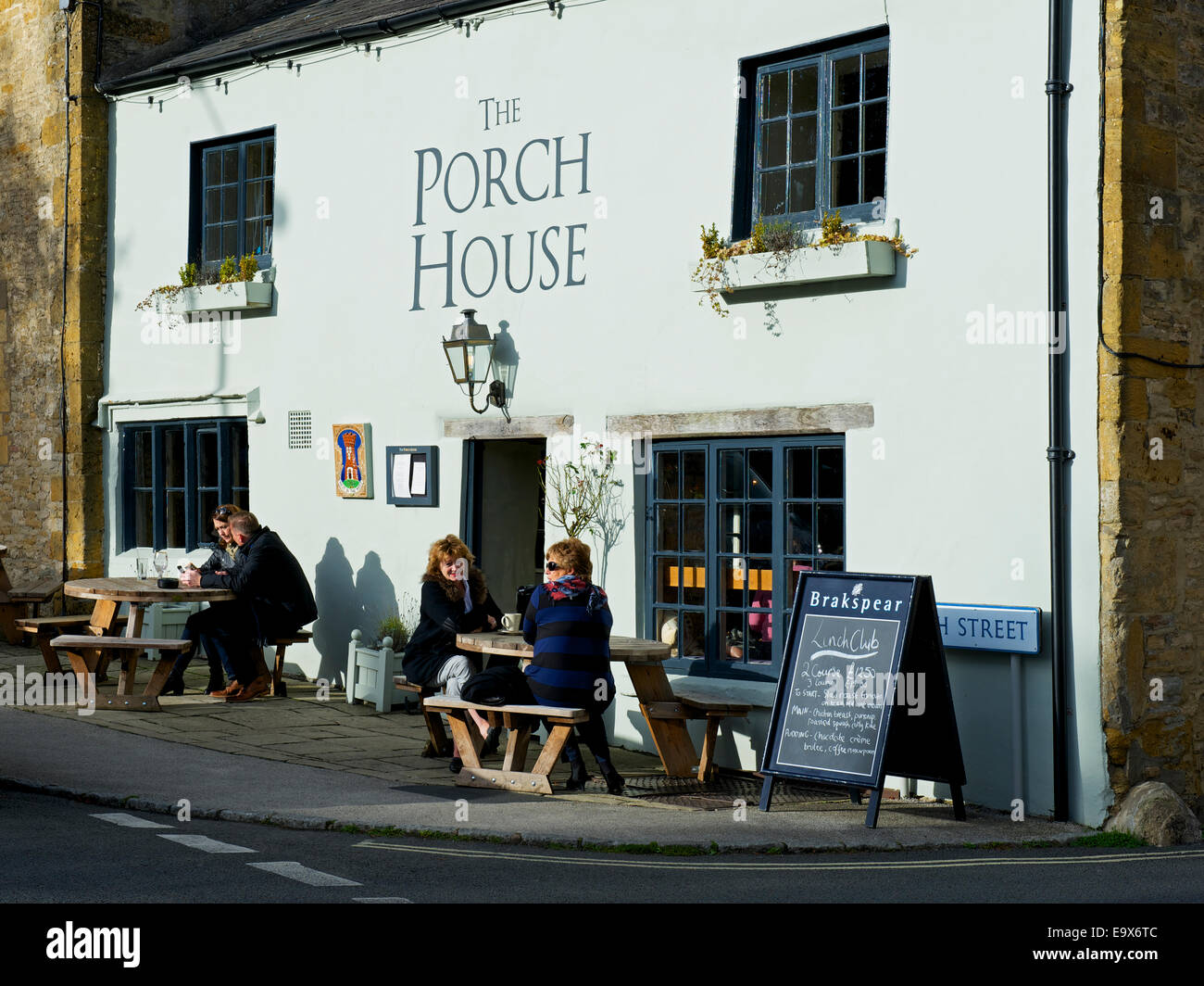 The Porch House, a candidate for being England's oldest pub, Stow-in-the-Wold, Gloucestershire, England UK - Stock Image