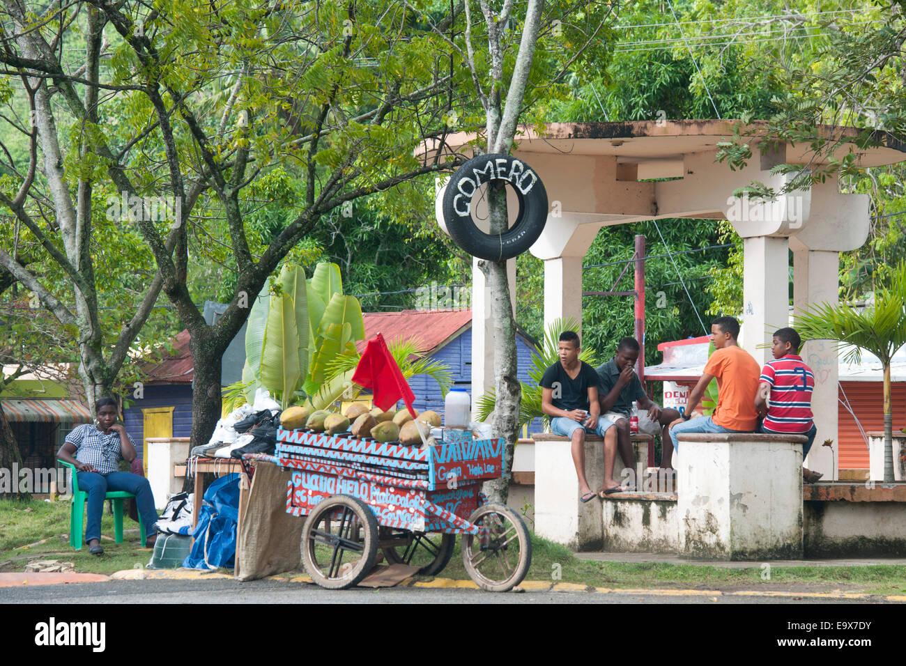 Dominikanische Republik, Osten, Kokosnussverkäufer an der Strassenkreuzung 103 / 104 nördlich von Otra - Stock Image