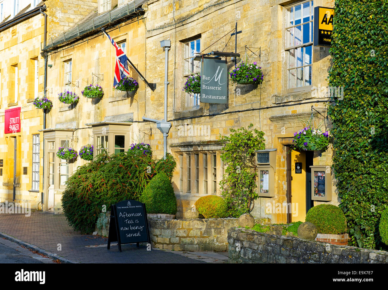 The Manor Hotel in Moreton-in-Marsh, Gloucestershire, England UK - Stock Image