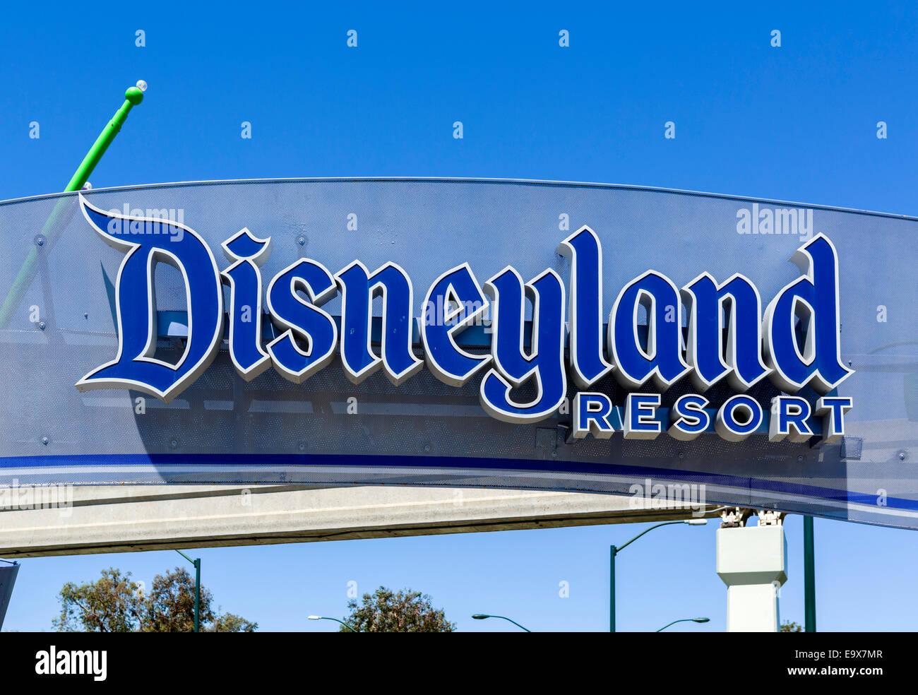 Entrance to Disneyland Resort, Anaheim, Orange County, near Los Angeles, California, USA Stock Photo