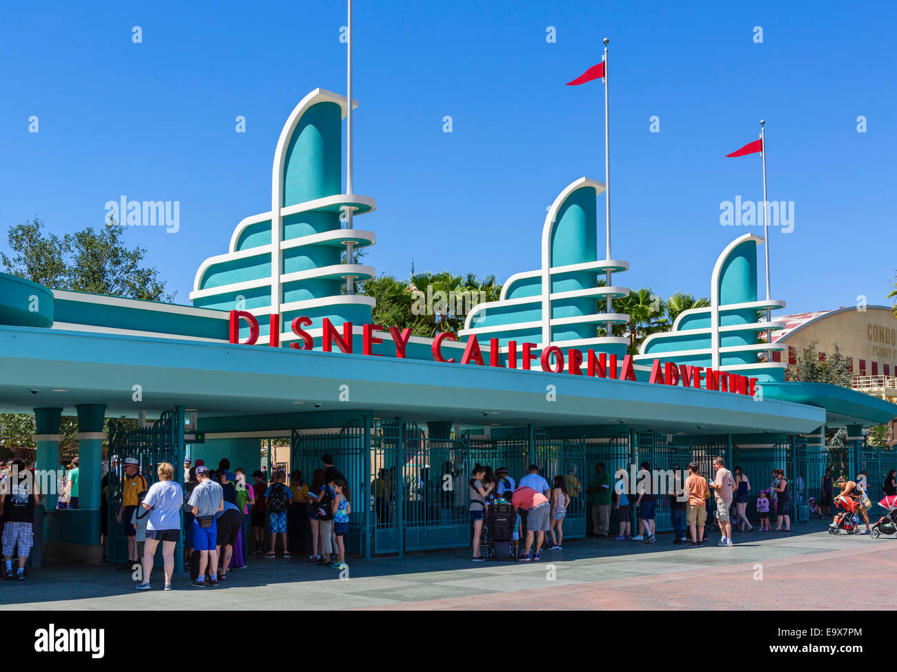 Turnstiles at the entrance to Disney California Adventure, Disneyland, Anaheim, Orange County, near Los Angeles, - Stock Image