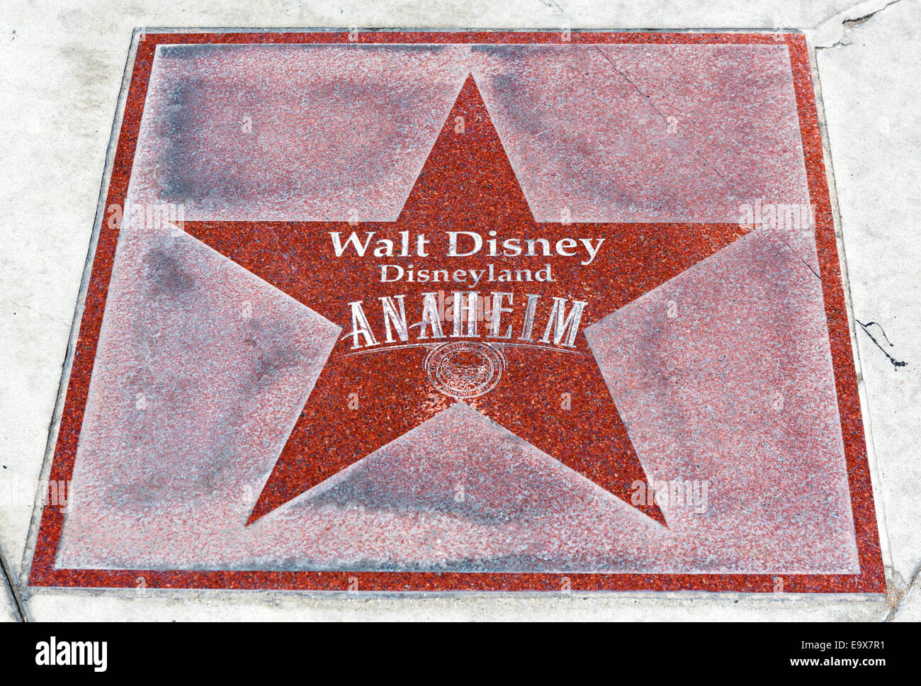 Star on the sidewalk outside the entrance to Disneyland Resort, Anaheim, Orange County, near Los Angeles, California, - Stock Image