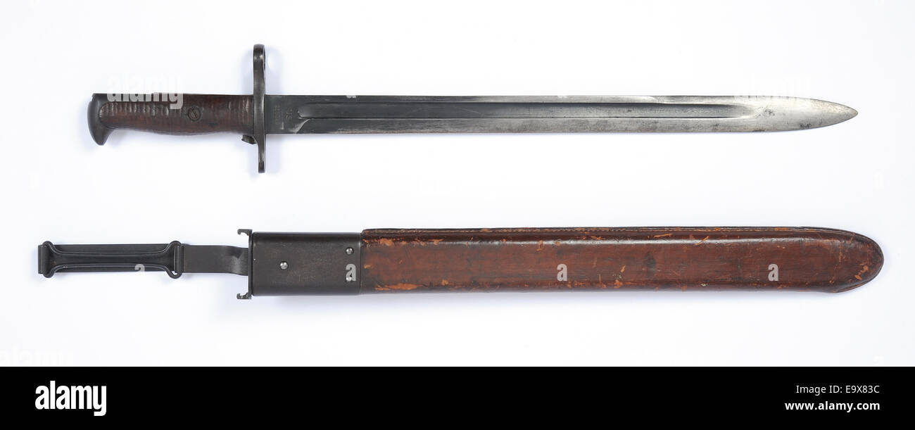 American WW1 M1905 bayonet for Springfield rifle used by US Doughboys during the Great War WW1. - Stock Image