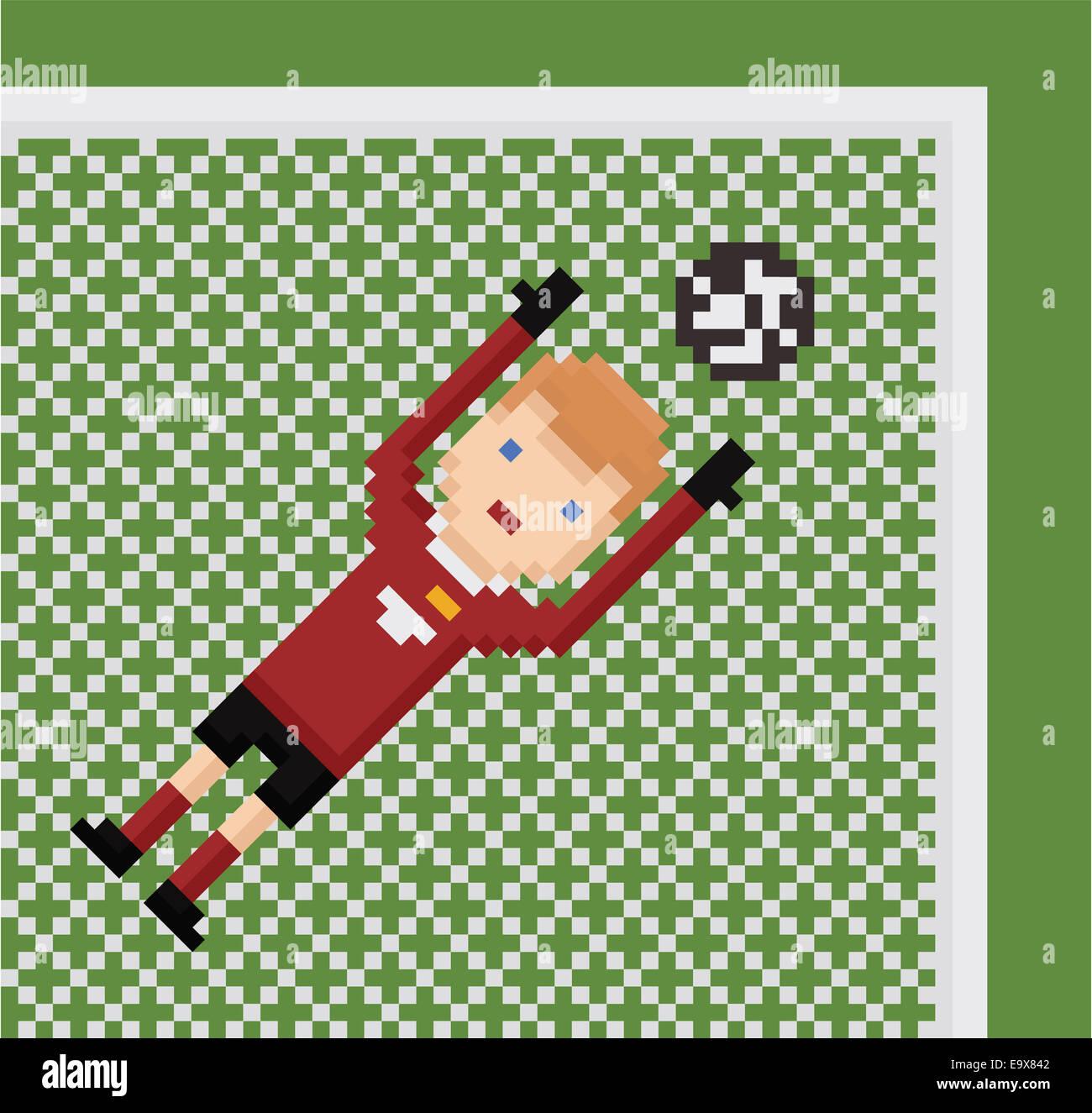 Pixel Art Illustration Football Soccer Goalkeeper In Red