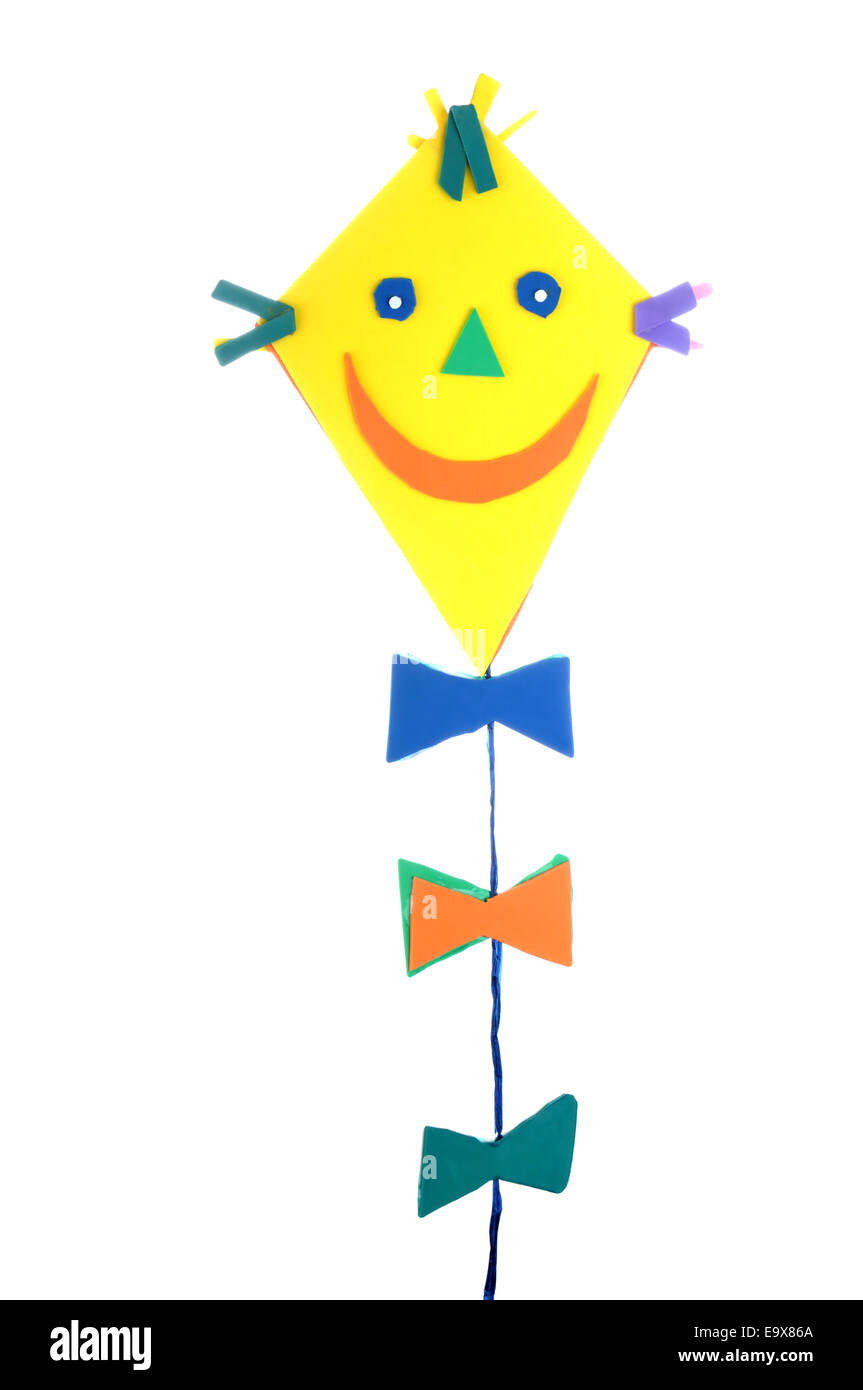 home-made kite decoration - children style - Stock Image