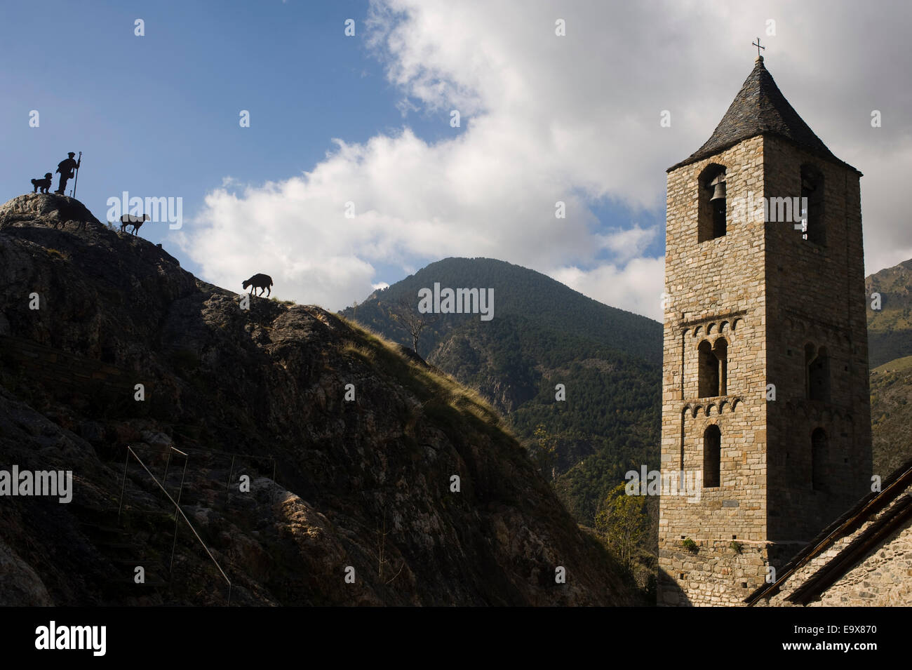 Sant Joan de Boi romanesque church. Vall de Boi, Lleida, Catalonia, Spain. - Stock Image