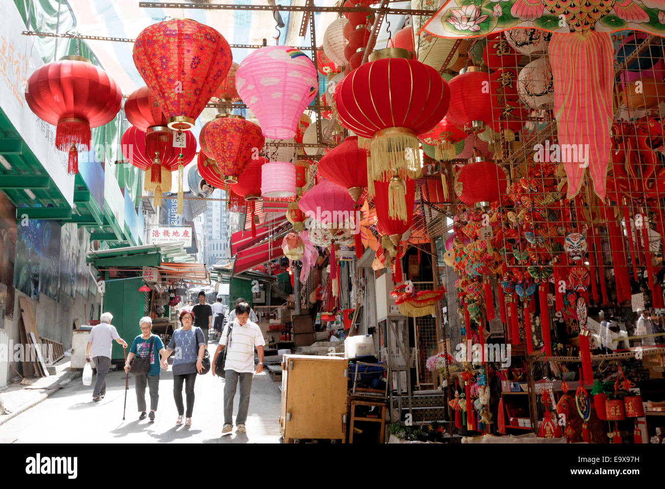 Chinese lamps for sale hang from a stall in the Central district of Hong Kong. - Stock Image