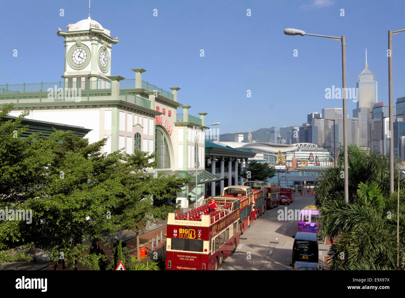 The Hong Kong Central Pier near waterfront district. Wan Chai in the background. - Stock Image