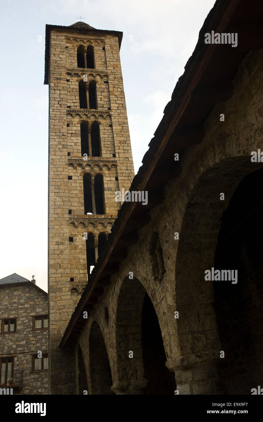 Santa Eulalia romanesque church in Erill la Vall. Vall de Boi, Lleida, Catalonia, Spain. Stock Photo
